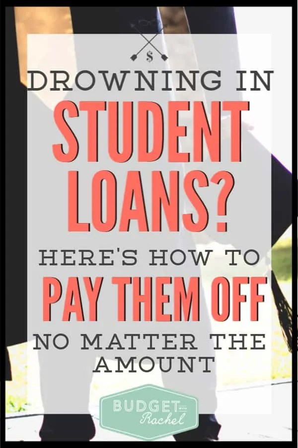 Are you suffocating with student loans? Don't let your loan burden cause you to give up. Here is how you can get out of your student loan debt no matter how much debt you have. Use these debt payoff tips to help you get rid of your student loans. #studentloans #debtpayoff #debtfree