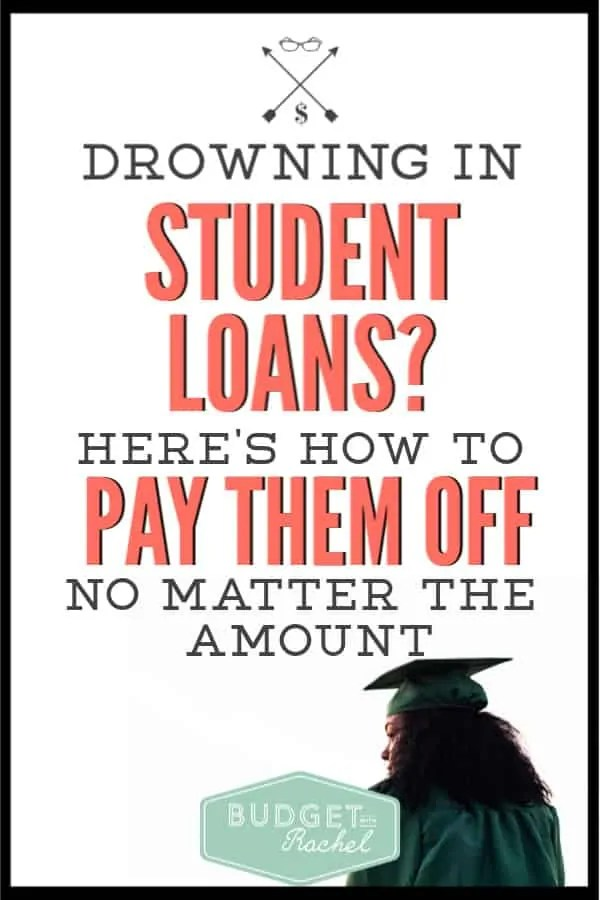 Are you drowning in student loan debt right now? I have been there! No matter how much student loan debt you have, you can pay them off. Use these debt payoff tips to conquer your student loans. #debtpayoff #debtfree #studentloan
