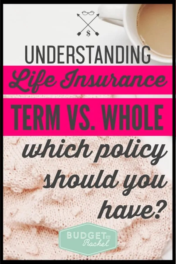 Life insurance policies can be so confusing. This is a simplified explanation of term life insurance versus whole life insurance. Once you know what policy you should have, the stress of life insurance will disappear! #lifeinsurance #budget #personalfinance
