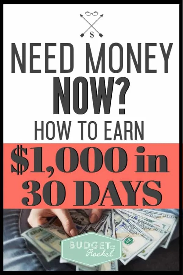 Do you need money now? Stop panicking and start doing! You can easily come up with $1,000 in just one month. Get started today and start earning some extra cash! #savemoney #moneysavingtips #budget