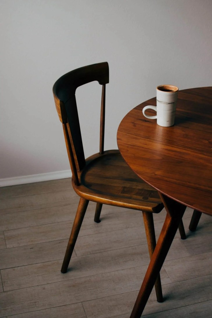 TABLE WITH MUG OF COFFE
