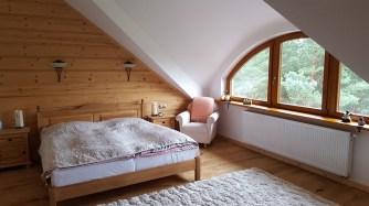Sypialnia w domu z drewna