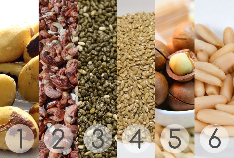 Budwig, natural medicine, seeds and nuts, Brazil Nuts, Cashews, Chia Seeds, Flaxseeds, Macadamia Nuts, Pine Nuts