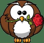 Braune Eule mit roter Rose im Schnabel