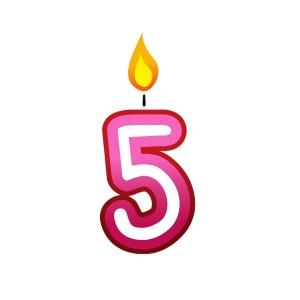 Bügelbild Kerzenzahl 5
