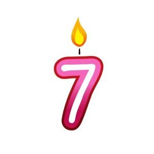 Bügelbild Kerzenzahl 7
