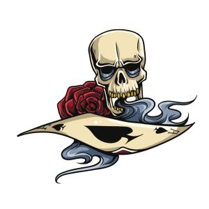 Bügelbild Poker Rose