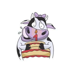 Bügelbild Birthday Cow