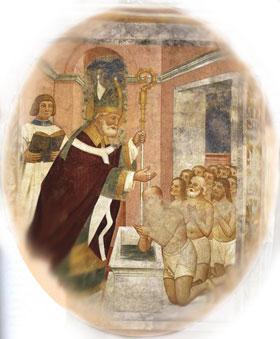 San Patricio bautizando