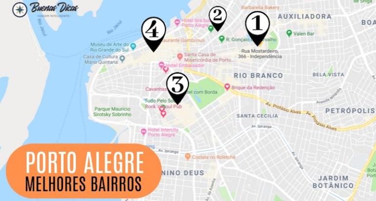 Mapa de bairros de Porto Alegre, com as melhores regiões para se hospedar