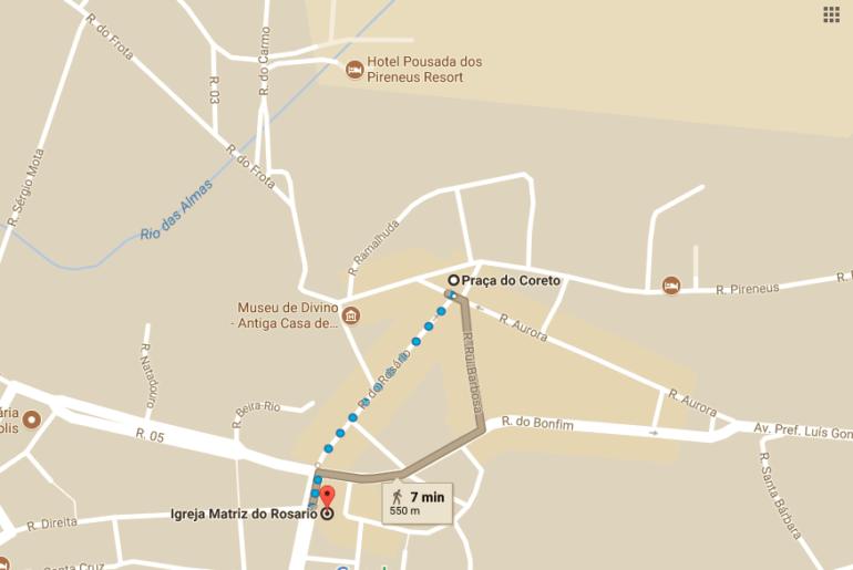 mapa de onde ficar em Pirenópolis