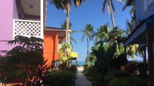 Jardim e vista da praia de San Luis