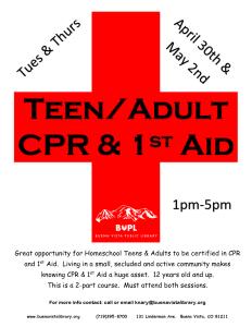 Teen/Adult CPR & 1st Aid @ Buena Vista Public Library   Buena Vista   Colorado   United States