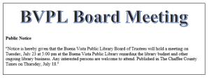Public Notice - BVPL Board Meeting @ Buena Vista Public Library