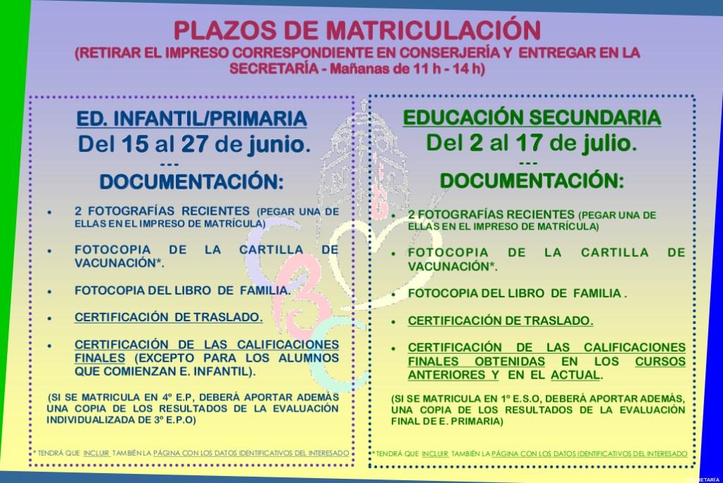 Info matriculación nuevos alumnos 2018-2019