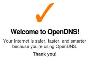 Pantalla de bienvenida de OpenDNS.