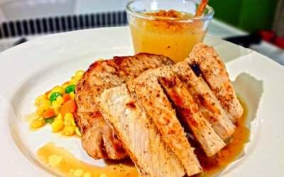 Cocina con Buenmercadoacasa: Chuletas de cerdo con salsa de caramelo y manzana