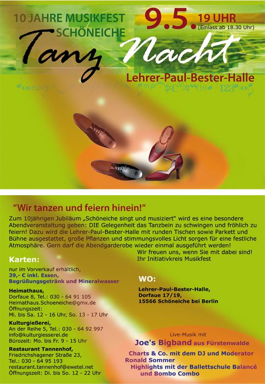 """Einladung zur Tanznacht am 9. Mai 2014 anlässlich des 10. Musikfestes """"Schöneiche singt und musiziert"""""""