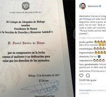 Icamálaga nombra a Dani Rovira presidente de honor de la sección de Derecho y Bienestar Animal