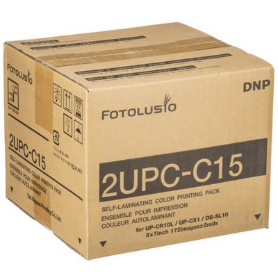 "DNP 2UPC-C15 5x7"" Media Kit for SnapLab and CX1 Printers (2 Rolls, 344 Prints)"