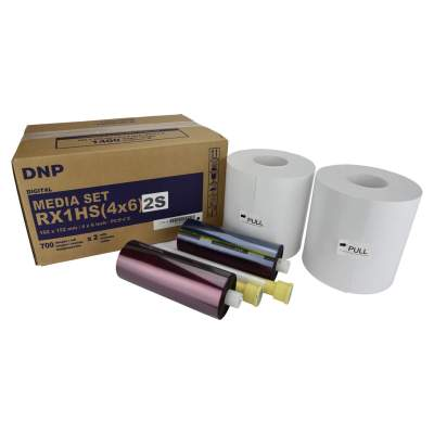 "DNP DS-RX1HS 4x6"" Center Perforated Dye Sub Printer Media Kit (2 Rolls, 1400 Prints)"
