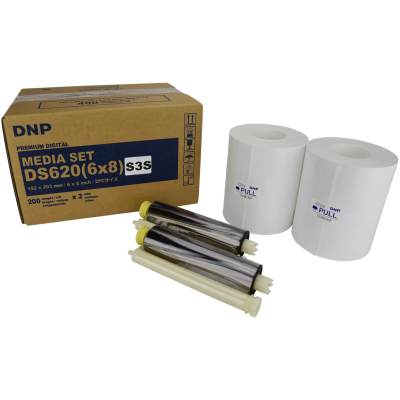 "DNP DS620A 6x8"" Triple Strip Sticker Perforated Dye Sub Printer Media Kit (2 Rolls, 400 Prints)"