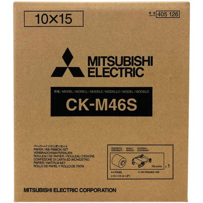 Mitsubishi CK-M46S 4x6″ Paper & Ribbon Media Kit for CP-M1A Photo Printer (1 Roll, 750 Prints)
