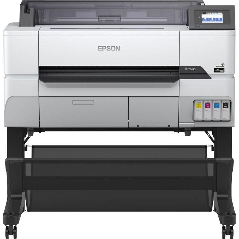 "Productive and easy-to-use 24"" workgroup inkjet printer. Rethink workgroup productivity with the 24"" SureColor T3475 wide-format wireless printer, offering powerful, precise printing within a compact, robust design. Ideal for high-production printing of blueprints, line drawings and posters up to 24"", it delivers accurate, A1/D-size prints in as fast as 25 seconds1. Featuring a 4.3"" color touchscreen, this easy-to-use printer also offers advanced network security and encryption designed to safeguard sensitive information. Its high-capacity UltraChrome® XD2 pigment inks ensure durable, vibrant prints. Plus, Epson's breakthrough PrecisionCore® MicroTFP printhead achieves outstanding clarity and commercial-grade reliability."