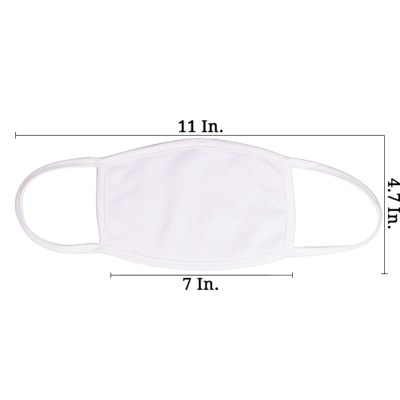 Sublimation Face Mask Double Layer Polyester Cotton Back Blank | Small | White Trim | Made in USA