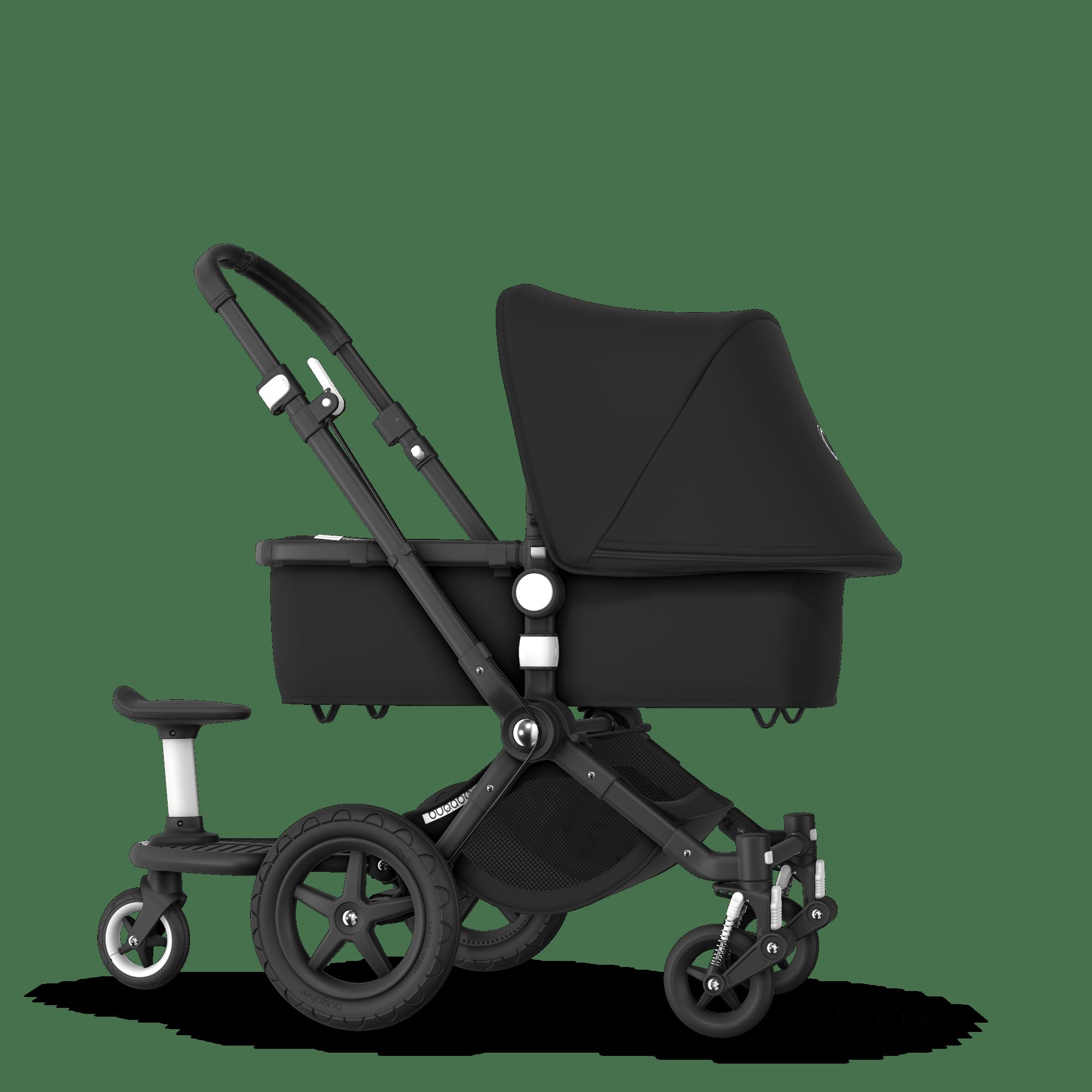 bugaboo cameleon 3 plus sit and stand stroller black sun canopy black fabrics black base