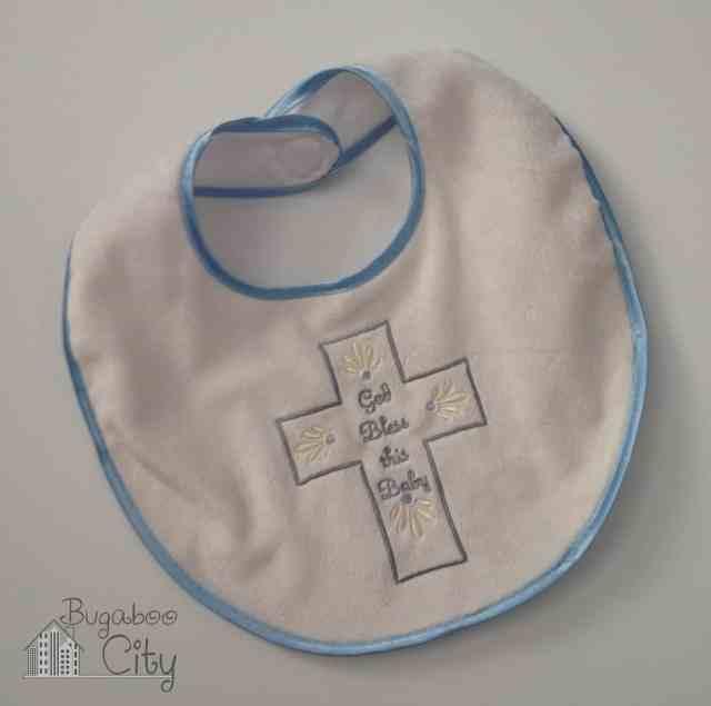 Baptism bib for baby boy