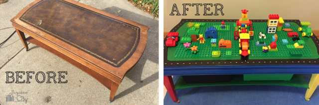 DIY Lego Table Before and After