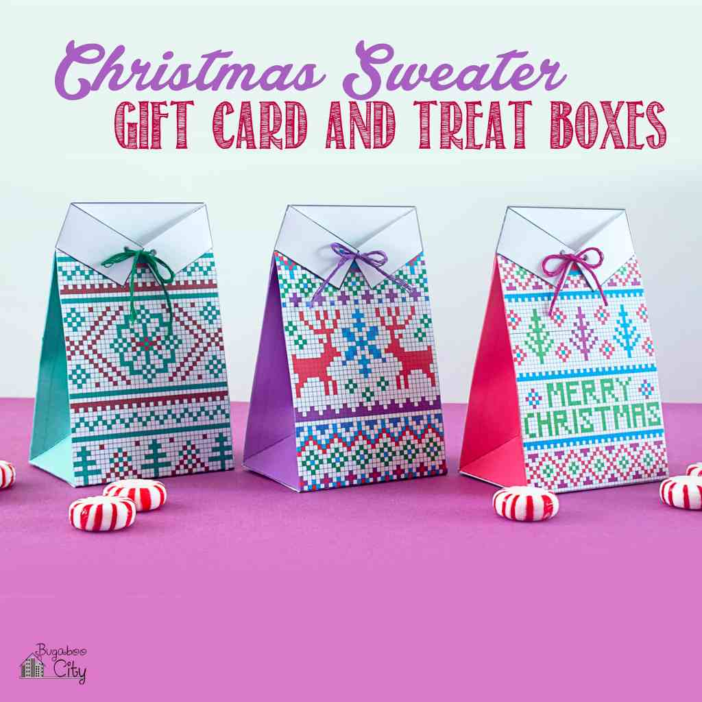 Christmas Sweater Gift Card and Treat Boxes