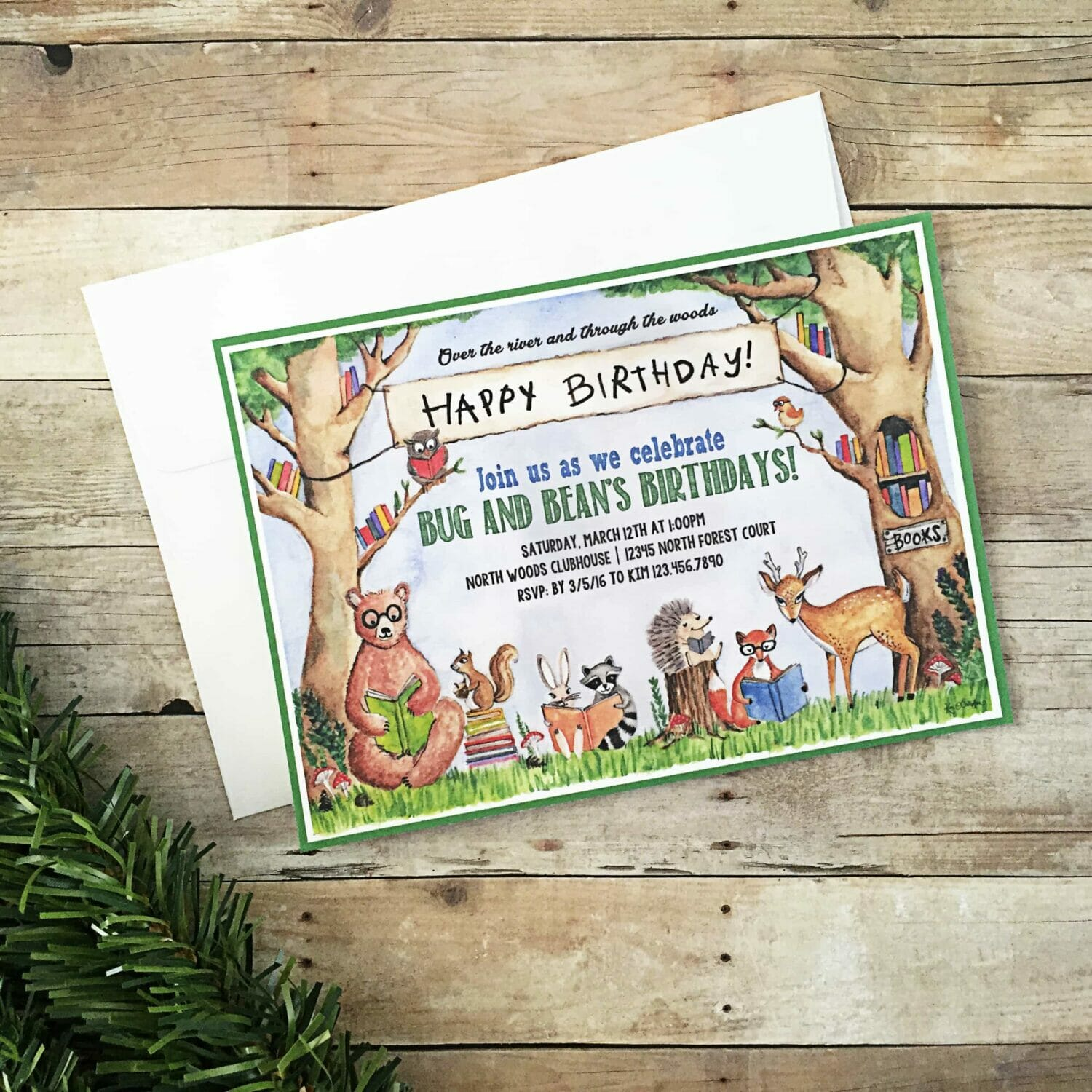 Woodland Animal Book Party Invitations BugabooCity