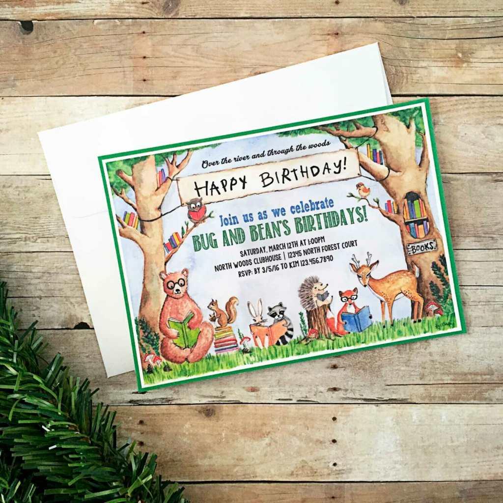 Woodland Animal Book Party Invitations - BugabooCity