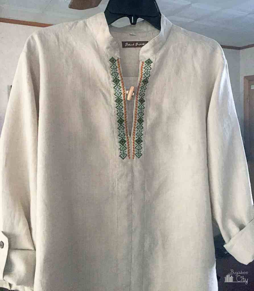 DIY Embroidered Men's Shirt Cross Stitch