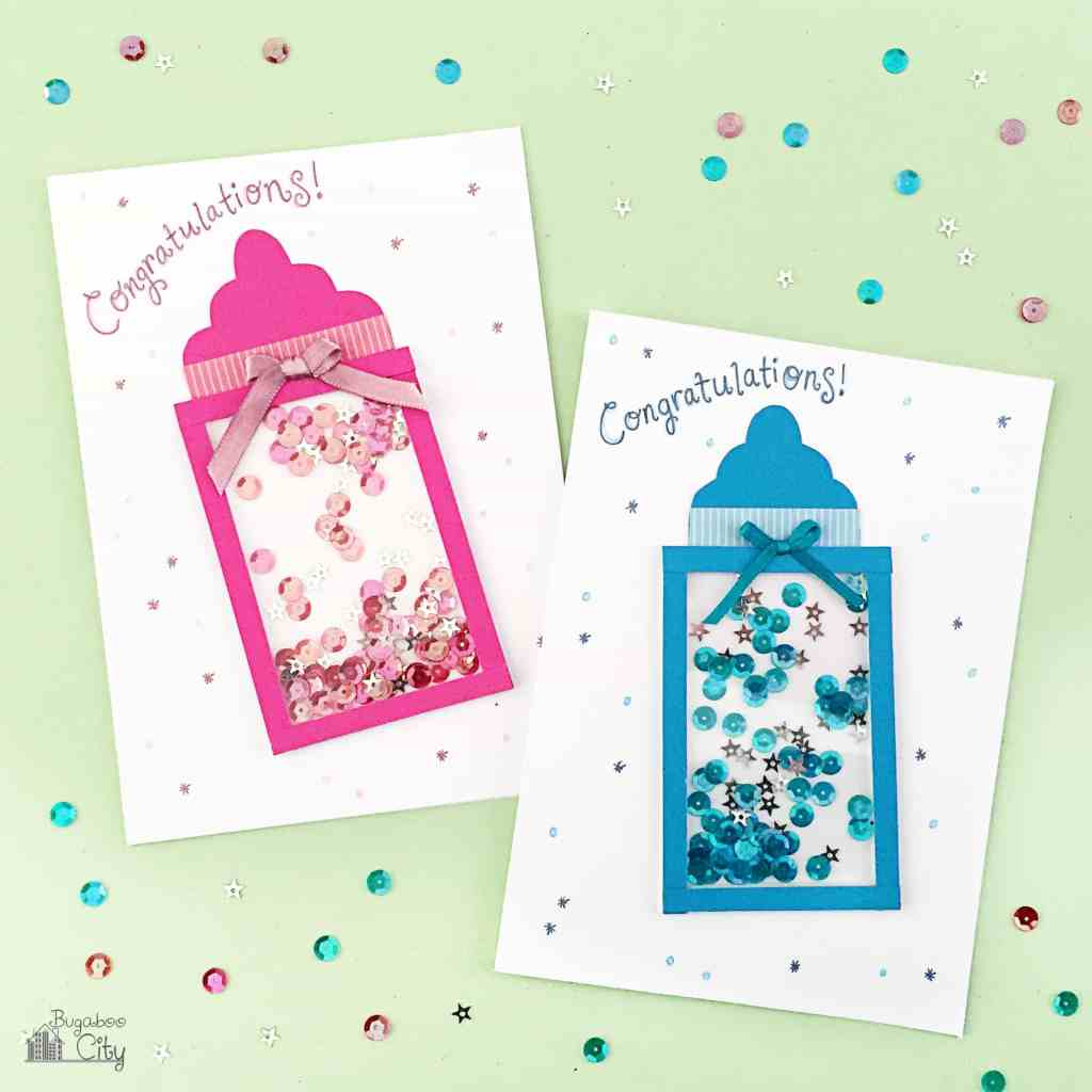 diy baby bottle shaker card - Baby Shower Cards