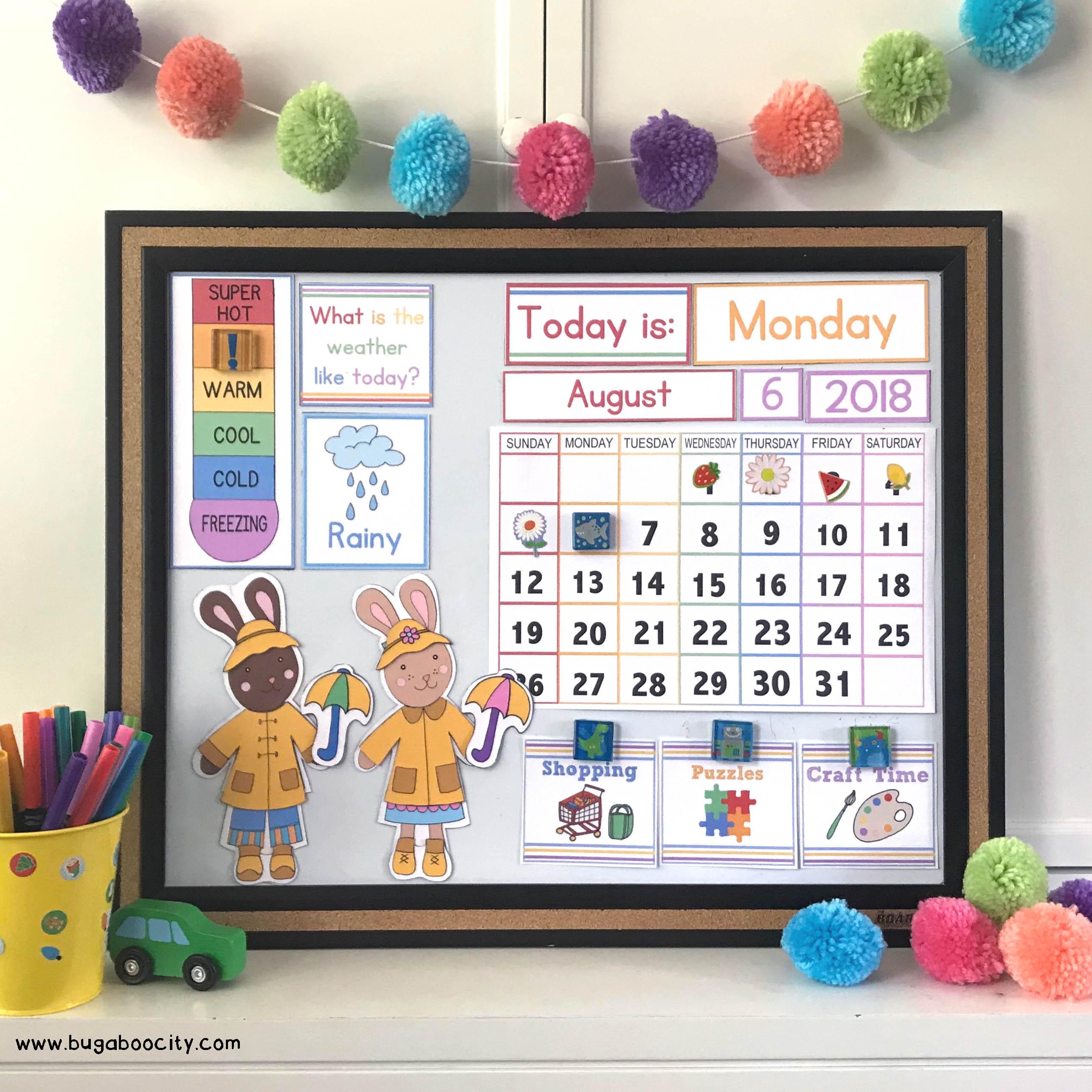 Diy Calendar Printables : Diy children s calendar with free printables bugaboocity