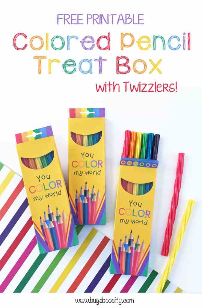 Free Printable Colored Pencil Treat Boxes with Twizzlers BugabooCity