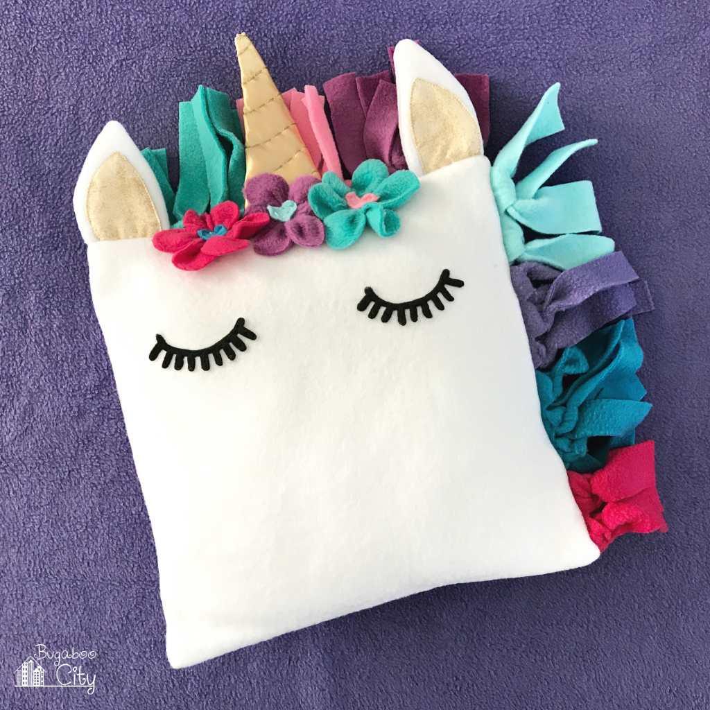 Free No Sew Fleece Pillow Patterns: DIY Fleece Unicorn Pillow with Free Pattern   BugabooCity,