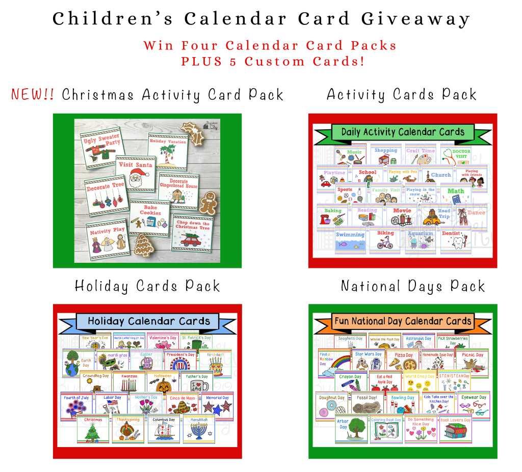 Children's Calendar Christmas Activity Cards GIveaway