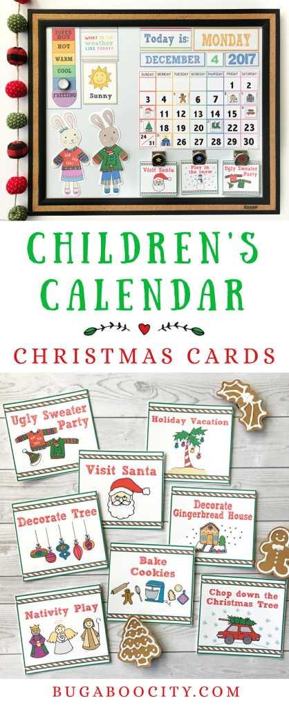 Children's Calendar Christmas Activity Cards BugabooCity