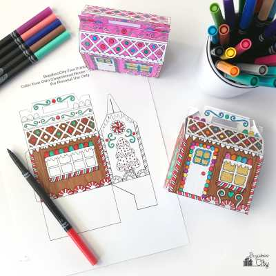 Color-Your-Own – Gingerbread House Box