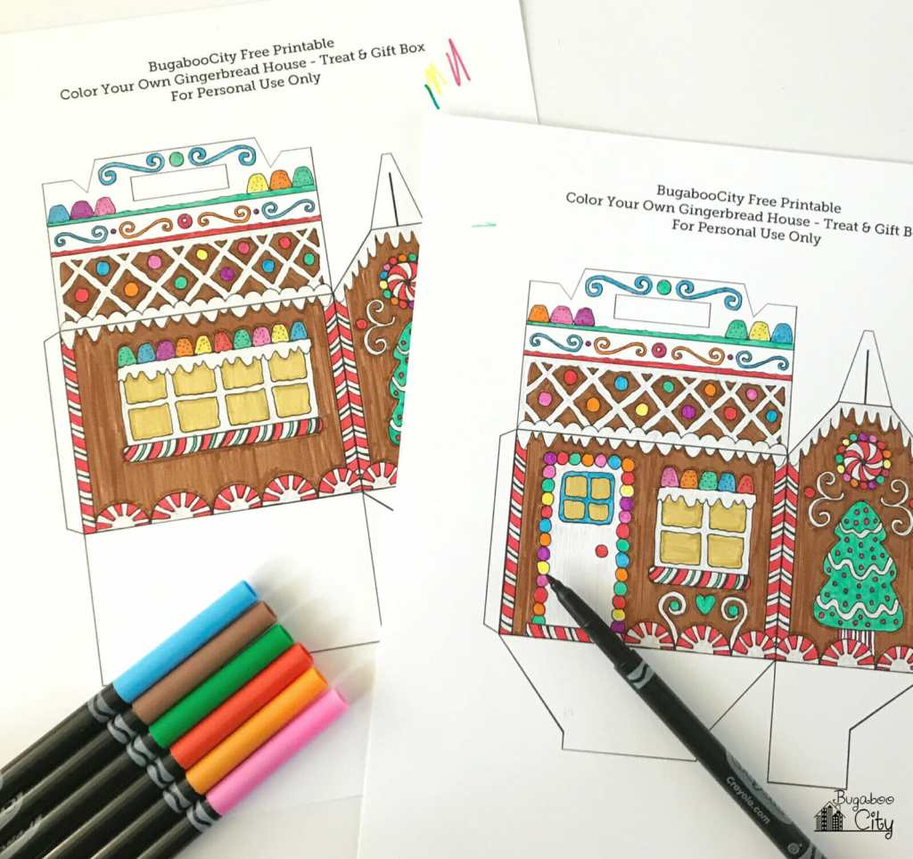 Color Your Own Gingerbread House Box Bugaboocity