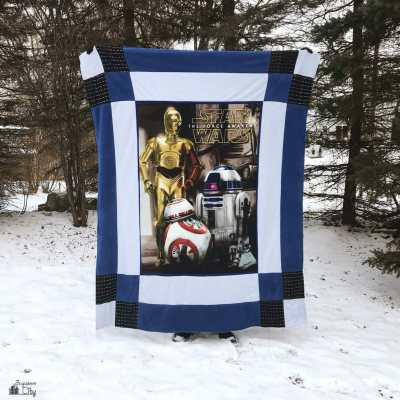 DIY Star Wars Reversible Fleece Quilt – made from two No-Sew Blanket Kits