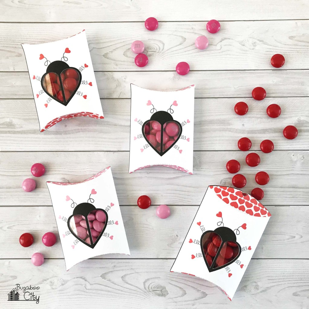 Free Printable Love Bug Pillow Boxes for Valentine's Day