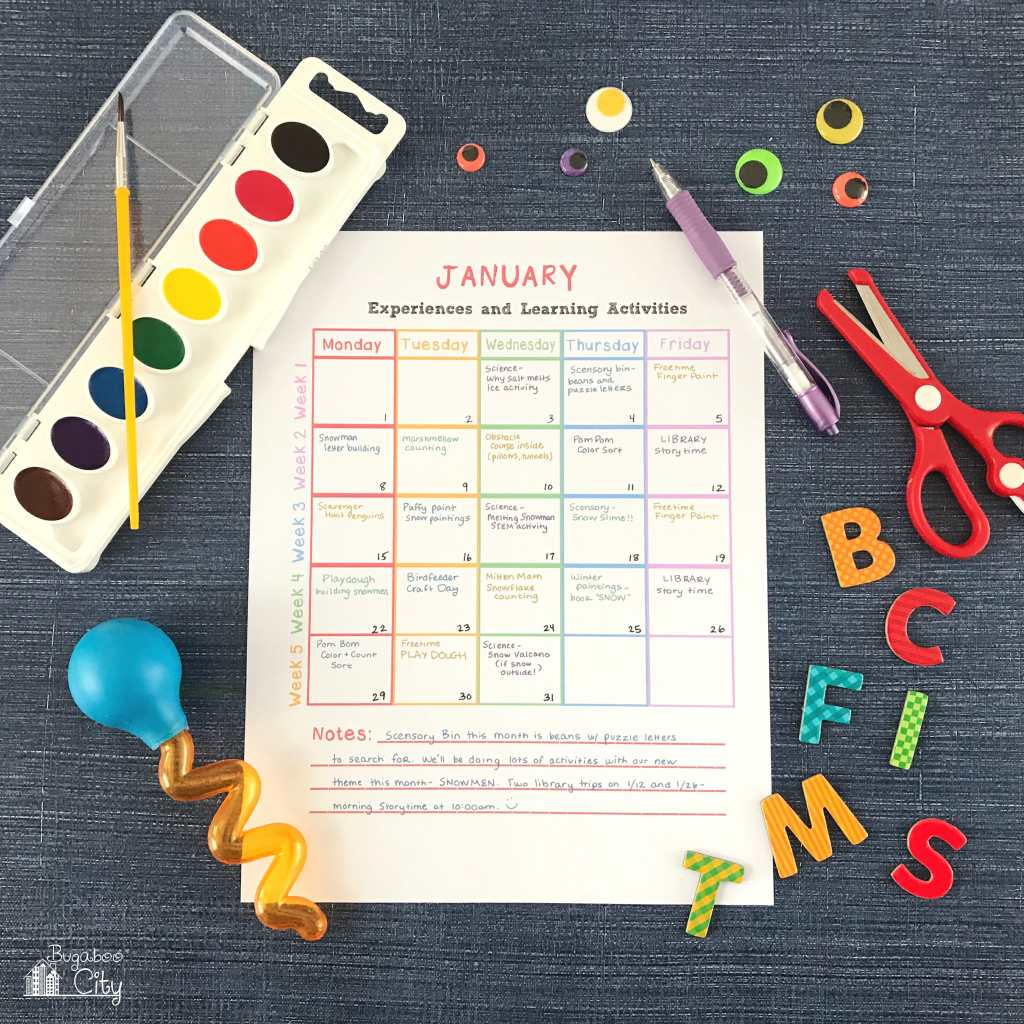 In-Home Preschool Printables - Activity Calendar Fillable and Printable PDF