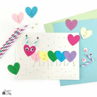 Valentine's Day Caterpillar Preschool Craft