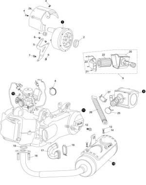 Hammerhead GTS 150 Engine  Muffler  Air Cleaner
