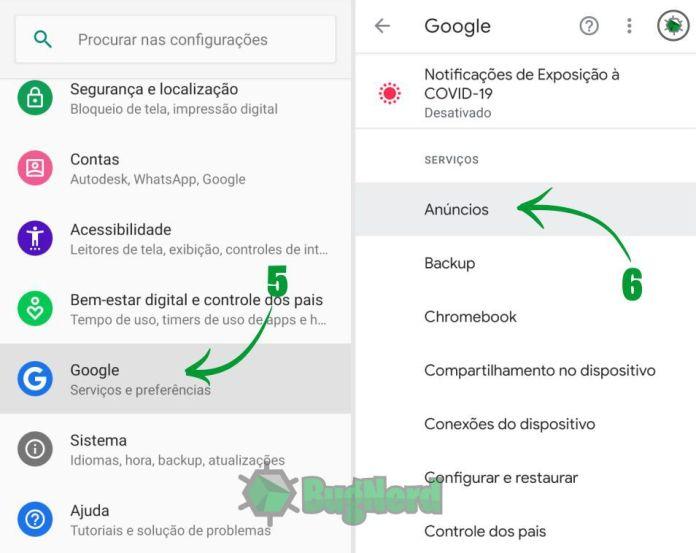 5 - Volte em Configurações e agora procure por Google e clique lá